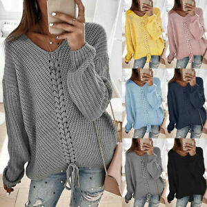 Womens Cable Knitted V Neck Sweater Pullover Ladies Winter Casual Loose Jumper