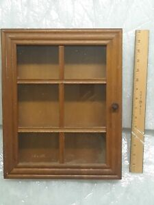 "VINTAGE WOODEN WALL SHELF WITH GLASS DOOR 14"" x 12"" x 3"""