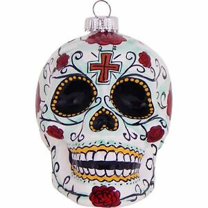 """3.5"""" Candy Day of the Dead Skull Figurine Glass Ornament"""