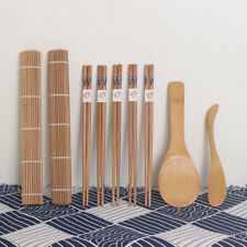 9pc/set Bamboo Sushi Kit Carbonized Rolling Mat Mold-resistant With Chopsticks