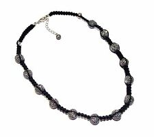 """CANDY BLING"" Grey Crystal, Sterling Silver & Black Cord Necklace (RRP £110)"