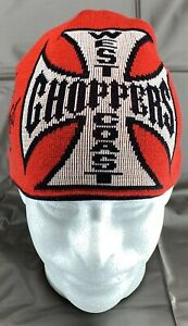 West Coast Choppers Jessie James Brand Reversible Black and Red Beanie