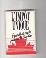 Vintage CANADA pin L'Impot Unique pinback MAPLE LEAF French button