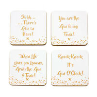 Set of 4 Novelty Gin & Tonic Slogan Gold Coasters Gift Coffee Table Mat Gift