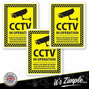 3 CCTV Stickers camera stickers sign window decals CCTV in operation 77 x 100mm