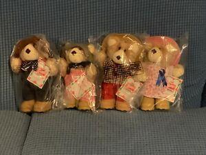 Vintage Wendys 1986 Happy Holiday Furskins Bear Set Of 4 New in Bag Plush