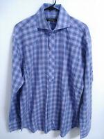 Bogosse Mens Size 5 Fits Like Large Blue Pink Plaid Long Sleeve Button Up Shirt