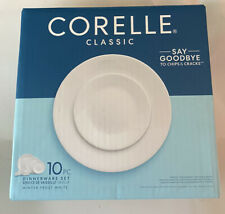 Corelle Classic 10 Piece Dinnerware Set- Winter Frost White