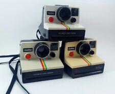 3 Vintage Polaroid SX-70 One Step White Rainbow Stripe Instant Land Cameras