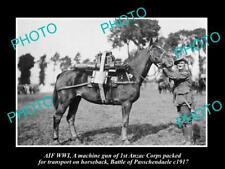 OLD LARGE HISTORIC PHOTO WWI ANZAC CORPS MACHINE GUN HORSE PASSCHENDAELE c1917