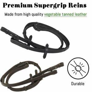 Black Brown Super Grip Leather Anti Slip Reins Continental Web Hand Stop 3 Sizes