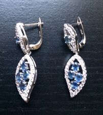 5.34ct Natural Blue & White Sapphire Sterling Silver Drop Dangle Earrings