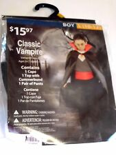 Boy size L 10-12 Classic Vampire Costume with Cape Halloween Trick or Treat