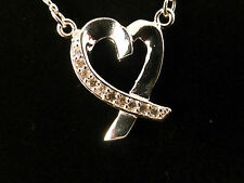 Silver Plated & Rhinestone Crystal Ribbon Heart Necklace with Free Gift Bag