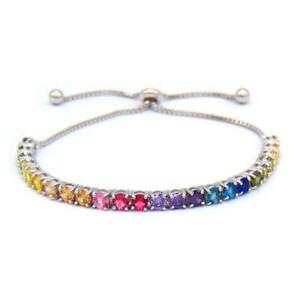 🔥🔥Luxury Collection Adjustable Rainbow Tennis Bracelet in Sterling Silver🔥🔥