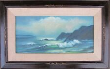 Vintage Seascape OIL PAINTING FINE ART waves clouds cliffs mid century framed
