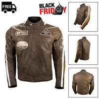 Mens Leather Motorbike Motorcycle Jacket Waterproof Biker With CE Armour Brown