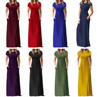 Womens Short Sleeve Loose Plain Maxi Casual Summer Long Pockets Dress S-2XL US