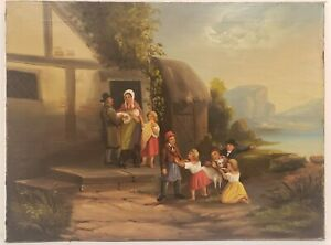 "Vintage Oil Painting on Canvas Family Portrait Scene Unframed Art (24"" x 32"")"