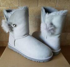 UGG Irina Swarovski Crystal Pin Toscana Pom Pom Grey Violet Boots Size 7 Womens