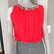 megan park  sz 2 SILK  top blouse coral RED sleeveless beads crystal a4