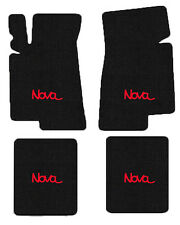 NEW! BLACK FLOOR MATS 1968-1974 Chevy II Nova Embroidered Logo Red on All 4 Mats