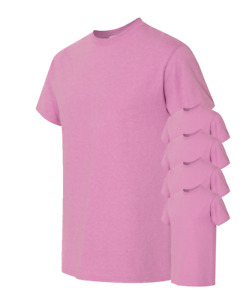 Gildan Men's T-Shirts 5-Pack Crew Heavyweight 5.3oz 100% Preshrunk Cotton S-3XL