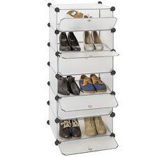 Etagère enfichable penderie meuble à chaussures de rangement avec portes blanc