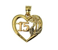 14K 3Color Real Yellow White Rose Gold 15Anos Quinceanera Heart CZ Charm Pendant