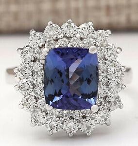 4.54 Carat Natural Tanzanite 14K White Gold Diamond Ring