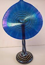 Signed Correia Art Glass Purple Pulled Feather Jack In The Pulpit  Iridized vase