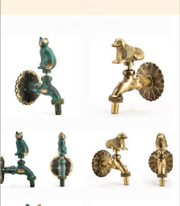 Outdoor Animal Vintage Style Garden Wall Mounted Water Tap Brass Faucet Dog/Cat