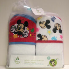 2-PACK Disney Baby Mickey Mouse Bath Set Terry Hooded Towels Gift Set White Red