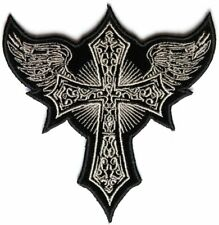 "Gothic Cross Patch 11"" Embroidered Cross Wings Iron on Sew On FAST SHIPPING"