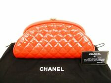 Authentic CHANEL RePatent Leather Matelasse Kiss Lock Clutch Bag Pouch #5983