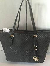 New Michael Kors Jet Set Small Travel Tote Handbag Black PVC Perforated 248.00