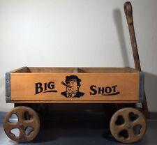 Vtg Super Rare Big Shot Wood Soda Pop Crate New Orleans LA Repurposed Toy Wagon