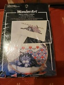 NIP WonderArt Stamped Cross Stitch Pillowcases, Pre-Hemmed, 1 pair Sleepy Cat