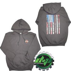 International GRAY Sweatshirt sweat shirt Hoodie truck diesel american Flag 4X