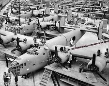 Photograph of the WWII B-24 Liberator Bomber Texas Assembly Line  8x10