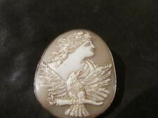 Lovely Victorian Quality 9ct Rose Gold, Rare Hebe & Eagle Shell Cameo Brooch