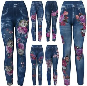 Pearls High Waist Women's Denim Print Fake Faux Jeans Leggings Pants