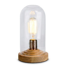 Vintage Style Wood  Clear Glass Bedside Table Lamp Lounge Light Rustic Edison
