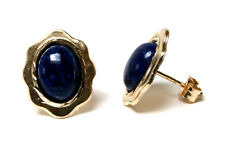 9ct Gold Lapis Lazuli Oval Stud earrings Gift Boxed Studs