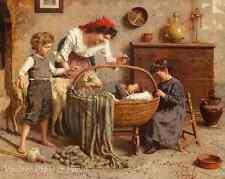 Family Scene with Newborn by E Zampighi  Art Mother Children Baby 8x10 Print 683