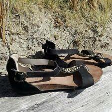 Paul Green Ladies Flat Sandals UK 6.5 Black Suede T-bar Chain Detail Gladiator