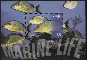 Nevis 2003 Marine Life (Haemulon sciurus) $5 Souvenir Sheet, Sc #1367 - pw53
