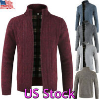 Winter Men's Knit Sweater Coat Casual Cardigan Stand Collar Thicken Warm Jacket