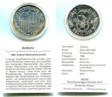 "10 Diners Andorra 1986 Proof Silber ""Fußball WM"""