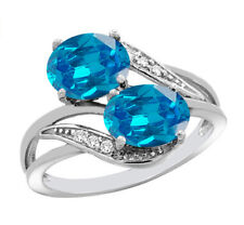 Real 14KT White Gold 2.07 Carat Natural Blue Topaz EGL Certified Diamond Ring